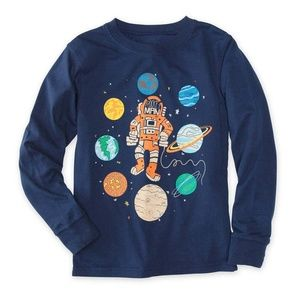 NWT Navy Rocket Man Space Long Sleeve Tee